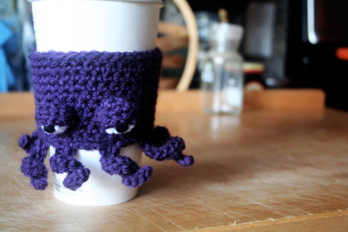 laughingsquid:  Really Grumpy Octopus Coffee Cup Cozy