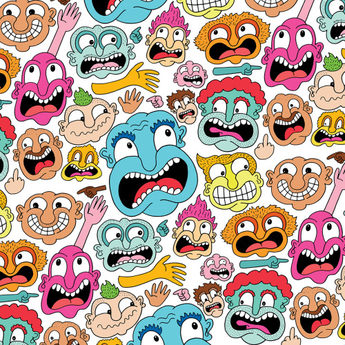 chrispiascik:  (via Weird Faces Pattern - Chris Piascik) Prints and more available at Society6! (FREE SHIPPING worldwide through Sunday!) / Daily Drawing #1341.