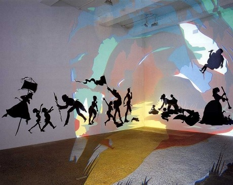 flightofthevagus:  Kara Walker, Darkytown Rebellion, 2001, paper and projection