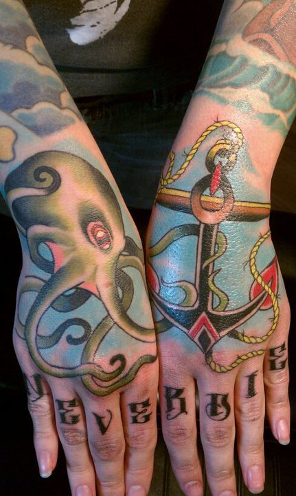 fuckyeahhandtattoos:  My hands. Done by the brilliant Chris Bailey (Currently at Club Tattoo - San Francisco, CA)