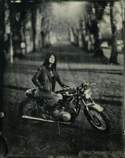 Stormie Ray and a 1979 KZ400 as photographed by the infamous Giles Clement on 100+ year old camera in SE Portland. [ more epic motorcycle girl photos from Giles Clement ]