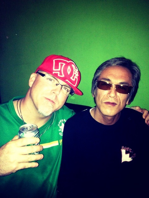 Jodie with yakuza movie legend Terajima Susumu at Lab Tribe.  What a night…