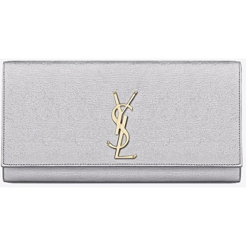 Classic Monogram Saint Laurent Clutch In Silver Textured Metallic Leather   ❤ liked on Polyvore (see more yves saint laurent handbags)