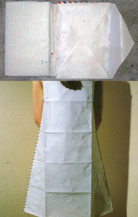 "vroomheid:  Airmail clothing, Hussein Chalayan, 1999  Airmail dress before and after ""I was interested in investigating the idea of creating a cyclical scenario, where people react to clothes and the end result. I like the idea of it being interactive, you don't know what people are going to write on it. It's just the raw material, to be themed by the recipient or the sender. The dress can go off on its own course. I like doing that. It's like picking up a seed from the air and you don't know what will happen to it. It's quite a creative way of working – creating a situation and then withdrawing.""  musée des arts decoratifs, paris, dec '99"