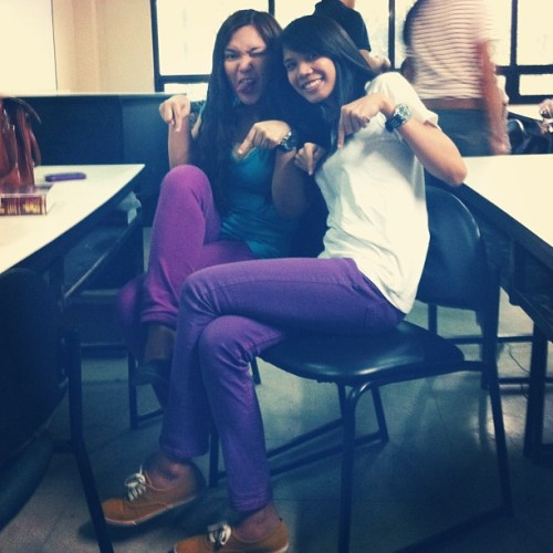 #TBT @marszhel and I wearing the same colored pants. #throwbackthursday #purple #pants #fashion (at University of San Carlos (Law Bldg.))