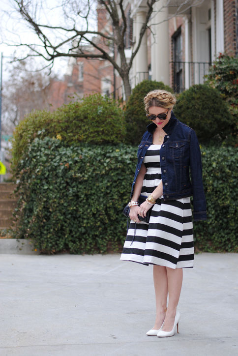 looks i love {and glamour does too!}… A Lacey Perspective in stripe dress and dark denim jacket