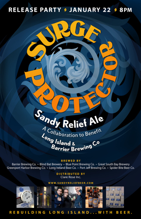 Surge Protector IPA will be released in six locations on Tuesday, January 22, including establishments in Brooklyn, Bronx, New York, and Queens! 61 Local Alewife NYC The Black Sheep Ale House The Bronx Ale House The Pony Bar The Tap RoomCheck http://sandyreliefbeer.tumblr.com/locations for updates on availability!