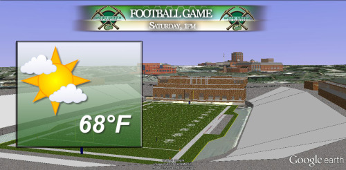 Finally get to use this graphic in my weekly weather forecast tomorrow. UNCC will hold it's first ever spring Green vs. White football game in our new stadium. Weather looks good!