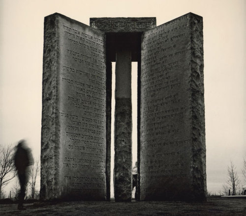 "leonjinkim:  Inscription from the Georgia Guidestones (a.k.a. ""The American Stonehenge""): Maintain humanity under 500,000,000 in perpetual balance with nature. Guide reproduction wisely — improving fitness and diversity. Unite humanity with a living new language. Rule passion — faith — tradition — and all things with tempered reason. Protect people and nations with fair laws and just courts. Let all nations rule internally resolving external disputes in a world court. Avoid petty laws and useless officials. Balance personal rights with social duties. Prize truth — beauty — love — seeking harmony with the infinite. Be not a cancer on the earth — Leave room for nature — Leave room for nature."