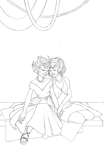 Linework for Kanaya and Rose drawing. Still very slow going on this drawing as my fiancé is still in the hospital. On the topic of the hospital, I think we're through the worst of Derek's mystery illness. We still don't know what is wrong (and we've been told we may never know), but he's lucid more frequently, seems adequately hydrated, is sleeping, and no longer has a temperature or pain from the lumbar puncture. He even has his laptop and an internet connection again and has been playing Team Fortress 2. We're still not sure how much longer he'll be in hospital. They are awaiting results from an EEG, but as I understand the data's been sent to Queensland for analysis and it hasn't come back yet. Unfortunately, I think things are a bit difficult at this time of year. But I've been reassured that we're through the worst of it, that it's not life-threatening, and that there shouldn't be any permanent brain injury, so we're all feeling a lot better now. On another note, it's been relaxing slowly working on this drawing during the sleepless nights. :) EDIT: You can download the full size version from deviantART if you would like to colour this. If you do, I'd love to see it! UPDATE: My fully coloured version of this is here.