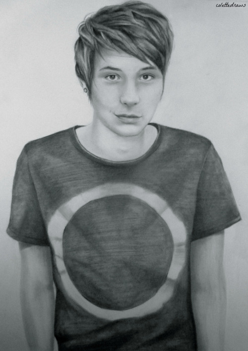 did a random drawing of dan. it's A3 size so it took about 50 years to shade in his entire shirt haha… I'm going to send it to the radio show though asap, so yay! oh and yeah I am also going to do one of phil as well when I get the time!