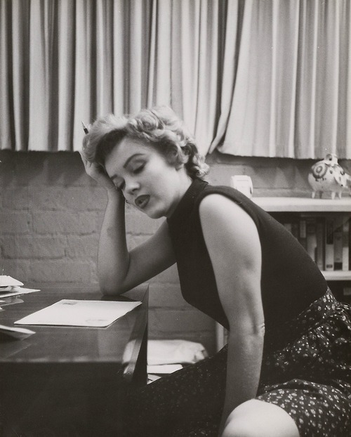 thebeautyofmarilyn:  Marilyn photographed by Phil Burchman in 1953.