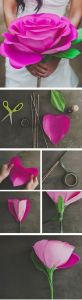 Diy Giant Paper Rose Flower   found on : http://pinterest.com/pin/1196337373386003/