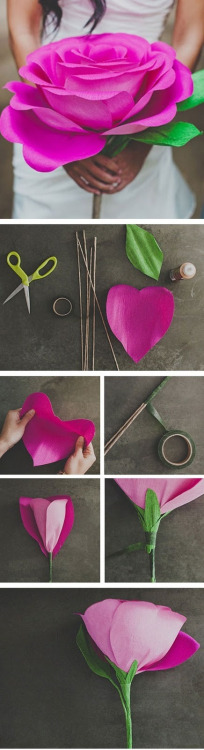 madeyourown:  Diy Giant Paper Rose Flower found on : http://pinterest.com/pin/1196337373386003/