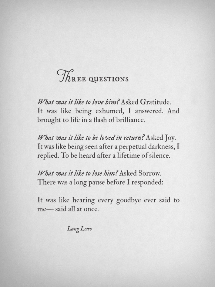 langleav:  Three Questions by Lang Leav