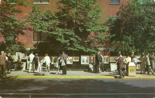 Vintage postcard of an outdoor art show in Greenwich Village, New York