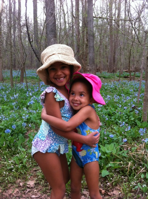 Bluebells with my girls.