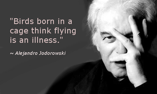 Birds born in a cage think flying is an illness. ~Alejandro Jodorowski