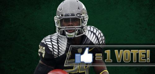 Oregon Football: Vote Kenjon Barner For Cover of EA Sports NCAA Cover Oregon Ducks star Kenjon Barner is among the Final Eight candidates to be featured on the cover of the upcoming EA Sports NCAA Football 2014 cover. To vote for Kenjon Barner, simply click this link or this picture and like the photograph on Facebook. Voting ends on February 18th, and Barner is going against Eddie Lacy, Denard Robinson, Ryan Swope, E.J. Manuel, John Simon, Tyler Eifert and Jarvis Jones. At this moment, Barner leads the voting (13,209) and maintains a lead over Jarvis Jones (12,322), Denard Robinson (10,537) and E.J. Manuel (9,766).  Barner won the Maden XIX Bowl on January 31st. The last time that Oregon was on the cover was the NCAA Football 2003 video game, featuring Joey Harrington for PS2, Gamecube and the original XBOX. #GoDucks
