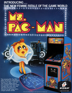 it8bit:  Classic Ads: Ms. Pac-Man Ms. Pac-Man is an arcade video game produced by Midway in 1982. It was originally conceived as an enhancement kit for Pac-Man called Crazy Otto and became one of the most popular video games of all time, leading to its adoption by Pac-Man licensor Namco as an official title. The game introduced a female protagonist, new maze designs, and several other gameplay changes over the original game. It became the most successful American-produced arcade game, selling 125,000 arcade cabinets. [Wiki]