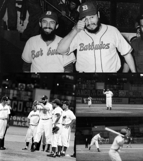 "Fidel Castro and fellow revolutionary Camilo Cienfuegos with their amateur baseball team, Los Barbudos (""The Bearded Ones""), prior to an exhibition game against a team of military policemen at Gran Stadium (now known as Estadio Latinoamericano) in Havana on July 24, 1959.   The exhibition was part of a doubleheader also featuring a game between the Havana Sugar Kings, a minor league affiliate of the Cincinnati Reds, and the Rochester Red Wings, a St. Louis Cardinals affiliate at the time. Castro, a pitcher in college for the University of Havana's baseball team, pitched two innings for Los Barbudos and struck out two batters."