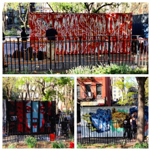Daytime outdoor art exhibition #muzy #grafitti #art #nyc #nyclife #instacool #onlyinnewyork (en Liz Christy Community Garden)