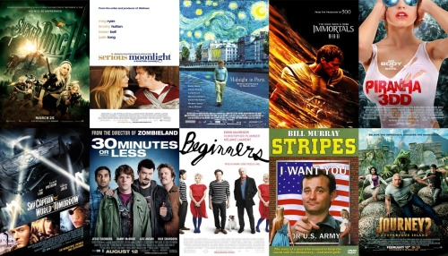 10 Worst Films Watched in 2012 (Excluding Rewatched Films) 1, Suckerpunch - Easily the most instant dislike of a film I had this year. I gave up on it 20 minutes in and then came back to it because I hate to leave a movie unfinished. Pointless visuals, horrible story and manages to be both misogynistic and misandristic at the same time. Total waste of time. 2, Serious Moonlight - Despite my initial inability to remember this film at all, this was the movie which I thought of the most when considering the bad movies I had watched this year. Something about it just annoys me ever time I think about it. 3, Midnight In Paris - Helpful for bringing me to a realisation about myself and my choice in movies but crushingly dull and filled with the biggest of douchebag characters. 4, Immortals - Pretty visuals but needlessly grotesque and pointless. 5, Piranha 3DD - Wasted potential in an enjoyably schlocky franchise. 6, Sky Captain and the World of Tomorrow - Ambitious attempt at something different but a terrible final product. 7, 30 Minutes or Less - One funny scene doesn't make this a comedy. 8, Beginners - I'm sure perfectly lovely for those that like this type of film but bored me senseless. 9, Stripes - Badly dated and quite sexist. 10, Journey 2: The Mysterious Island - Exactly what I thought it was going to be like but still really cheesy with terrible comic relief. I actually didn't do to badly this year considering it was only really the top 4 that I disliked entirely. Last year all 12 films were completely terrible.