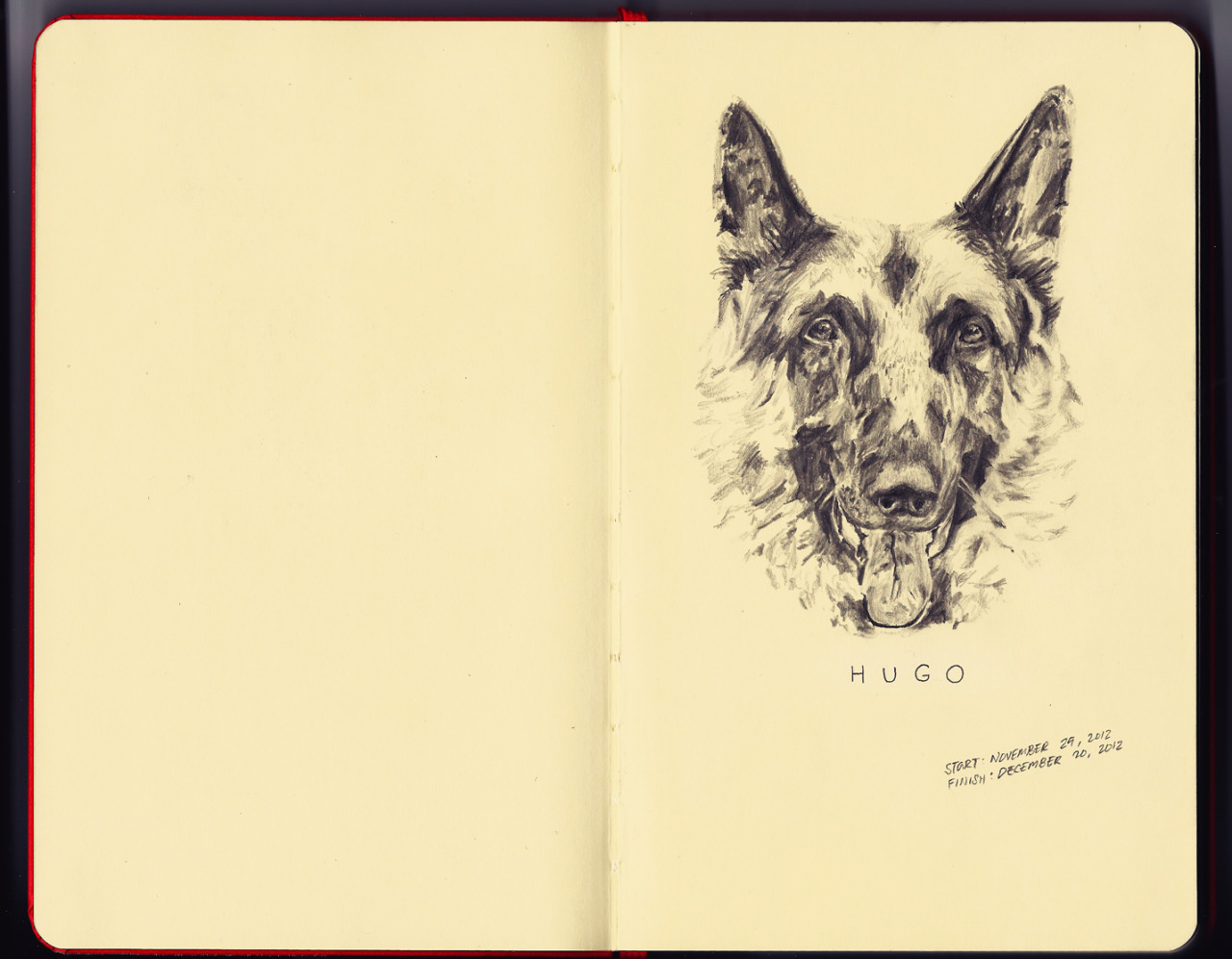 The first page on my moleskine.It was my German Shepherd's birthday yesterday. Happy 3rd Birthday Hugo!