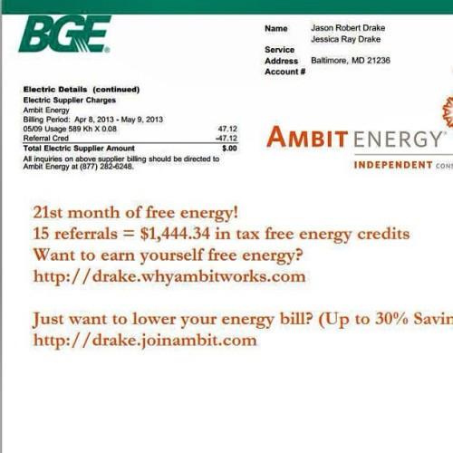 21st month of free energy! First month of free gas. #ambit http://drake.whyambitworks.com
