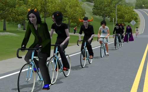 solluxe-books:  simstuck:  i want to ride my bicycle i want to ride my biiiiiiike  THERE ARE MORE COMING DOWN THE STREET I'M GOING TO CRY