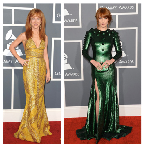 Even Kathy Griffin knows redheads shouldn't wear green #christmas #dinosaurchic #florenceandthemachine #55thgrammys
