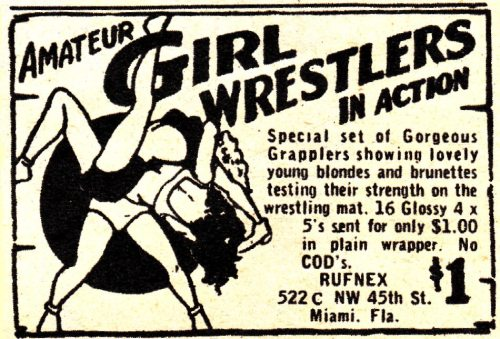 Amateur Girl Wrestlers In Action Photo ad (1950s)
