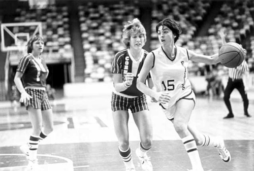 mn70s:   Minnesota Fillies' Brenda Chapman, 1978 On December 15, 1978, the Minnesota Fillies of the Women's Professional Basketball League made their debut in game against the Iowa Cornet at the Metropolitan Sports Center. As you can see in this photo, the Fillies did not exactly pack the stands that night. The team played for three seasons until the league finally folded in 1981. Photo via Minnesota Historical Society   Special Collections has some files on the Fillies if you are interested in doing some research on early professional women's basketball in Minnesota.