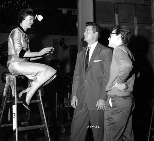 Natalie Wood, James Garner and director Joseph Pevney on the set of Cash McCall