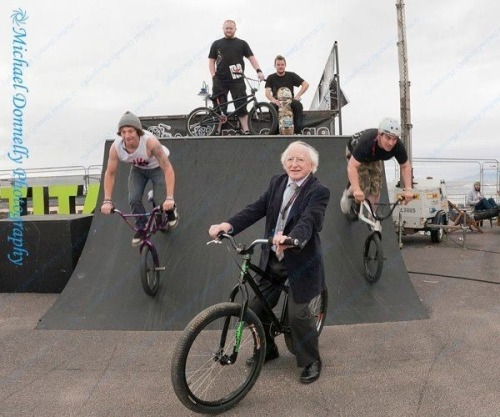 readinginthedark:  The president of Ireland.   awkward moment when people realise that that's a bmx, and that Michael D. is an escaped Gringott's goblin.