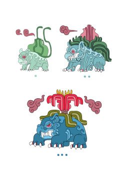 monarobot:  Some Pokeymans: Bulbasaur, Ivysaur and Venusaur as ancient mayan beasts.  The dots underneath each drawing are their numbers in maya numerals.