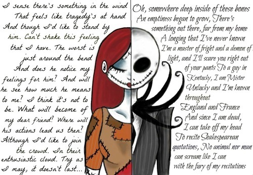 fandomlullaby:  I love Jack and Sally. I love Nightmare before Christmas. I love anything Tim Burton. Their love is just…amazing.