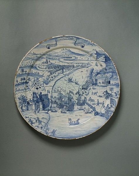 objectcuriosity:  Dish, Redcliff Back Pottery, c.1740, England, tin-glazed earthenware, painted, Victoria and Albert Museum.