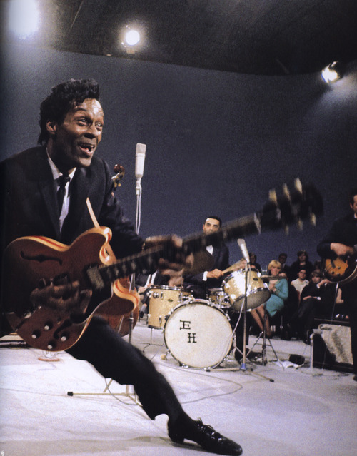 beautilation:  dreamsofdarkandtroublingthings:  Chuck Berry is the true King of Rock 'N' Roll. Not only did he write his songs, he laid the foundations for guitar playing in popular music.   Word, I love Elvis but there is no denying that he falls short of Chuck Berry when it comes to, well, everything. We all know why Elvis is the better known, more celebrated musician- and it's a stupid reason- but I'd really like to see more kids in the rockabilly/ psychobilly wearing Chuck Berry pins and tees and patches. If only out of respect, man.  you never can tell is going to be played at my wedding