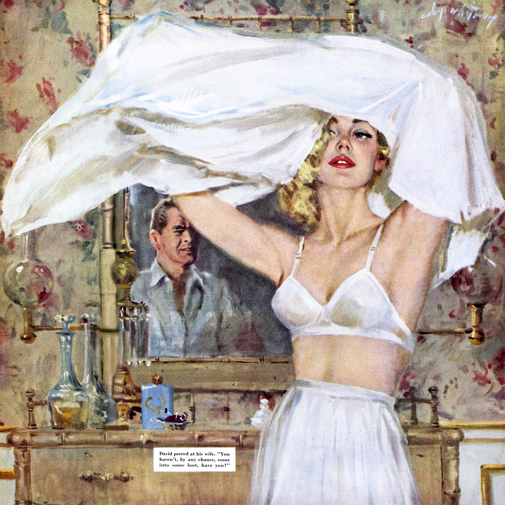 Illustration by Coby Whitmore for the story 'The Dream House' in the Saturday Evening Post, May 1955.