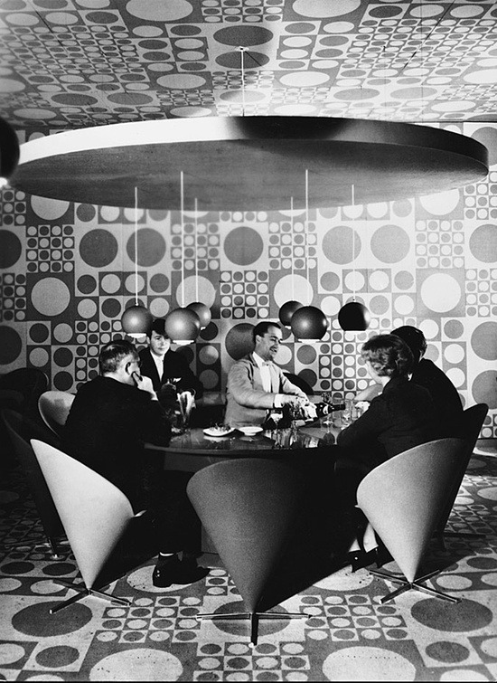 theswinginsixties:  Interior of the Astoria Hotel, designed by Verner Panton, 1960.