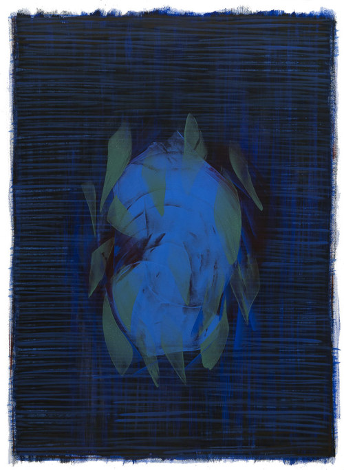 BLUE oil on paper, 46 by 34 in, 2013 Hermann Lederle  more: http://artbullet.com/pw2013.php