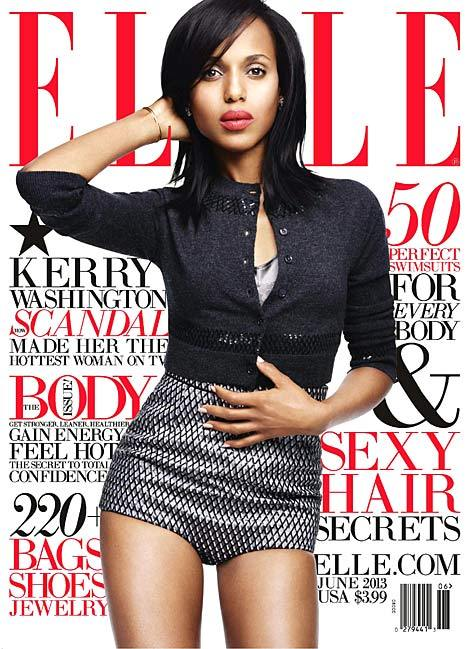 The hottest woman on TV aka Scandal star Kerry Washington on the June 2013 cover of ELLE US.