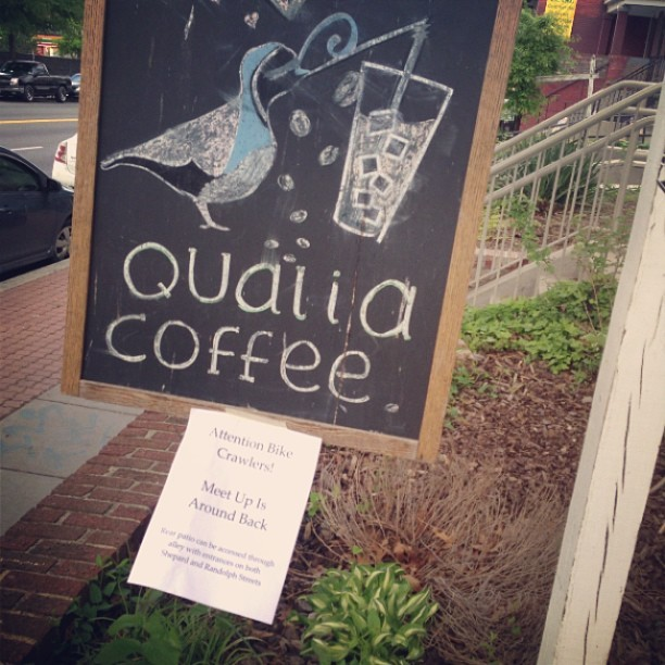 It begins  #coffeebikecrawl #coffee #wdc #love @lizoc (at Qualia Coffee)