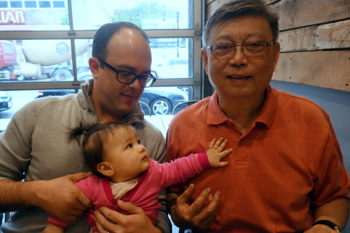 Day 224. Eva gets her square jaw and giant head from her Opa (grandpa). He loves Eva lots, so he came to stay with us for a few days before heading back to The Netherlands, where he lives with Oma. Besides going out to eat together, Eva's also joining Opa outside to see how he's helping liven up the front yard.