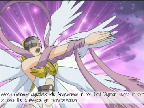 magicalgirlconfessions:    When Gatomon digivolves into Angewomon in the first Digimon series, it sort of looks like a magical girl transformation.  submitted by anon