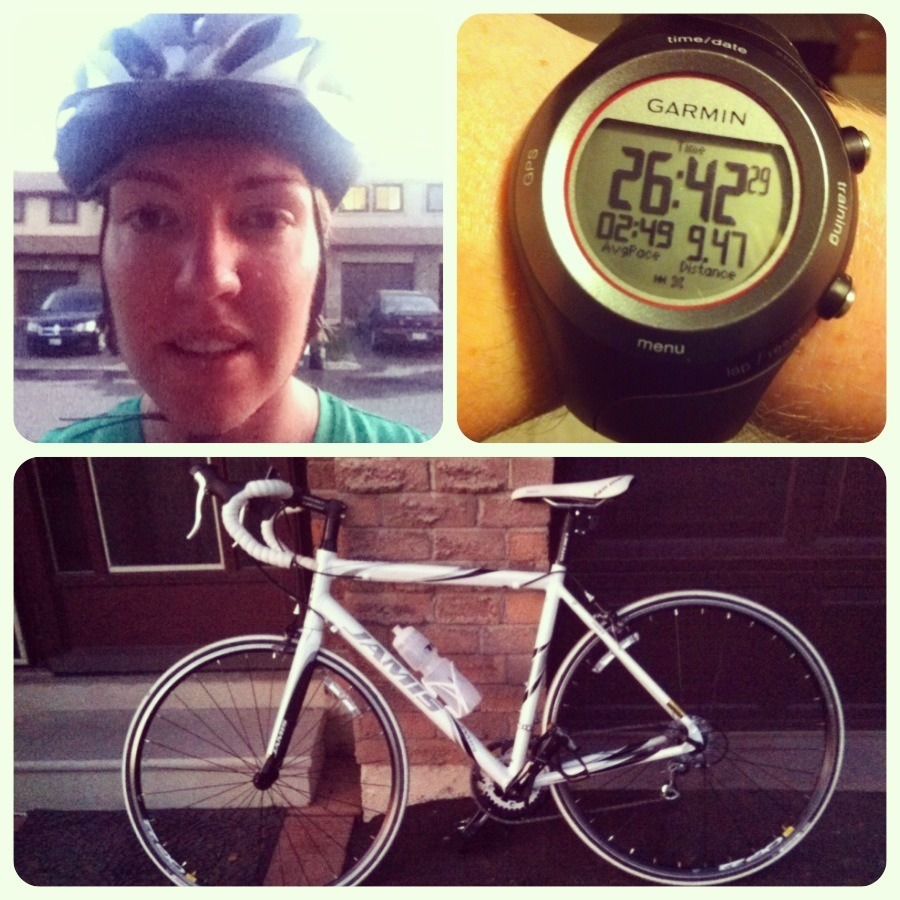 Went out for an easy ride tonight to loosen up the legs post half marathon. Just a short one, just shy of 10K, but the good news is, I found it much easier than last time, and this is only the 3rd ride. With only 19 days until my first duathlon, so I'm relieved this ride felt pretty good. Still feeling a pain point at the back of my neck between the shoulders. Not sure if it's just a posture thing I need to get used to or if I need to do some bike adjusting. I did raise the handle bars slightly tonight, but not sure if I felt any difference. In other biking news, I also had my first close encounter with an oblivious driver tonight, backing out of her driveway and didn't see me at all. I tried to break but wasn't going to get stopped in time so I yelled and swerved and by some miracle, she stopped and i swerved just far enough. Seriously scared the crap out of me. Of course, she then yelled at me for yelling at her. Ahhh, I love people. Admittedly, I may have yelled some rage filled words at her, but I was scared to death! Anyways, lovely evening for a ride!
