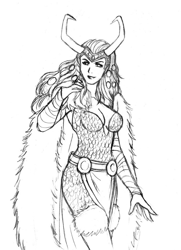 Lady Loki sketch, for stress relieving.