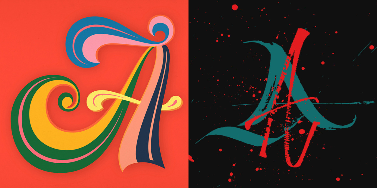 typeworship:  Lettering vs. Calligraphy  Today is the last day of this letter exhibition at Mota Italic, featuring the work of letterer, Martina Flor and calligrapher, Giuseppe Salerno. Each Berlin based designer draws/writes a letter chosen each day. They explore the different possibilities of each glyph in a similar way to 'letter battles' such as Type Fight, Alphabout, AlphaBattle and the fun LetterPlayground. The two technical approaches have produced some lovely work. It's a shame I've missed the show, however you can see more of the work online.