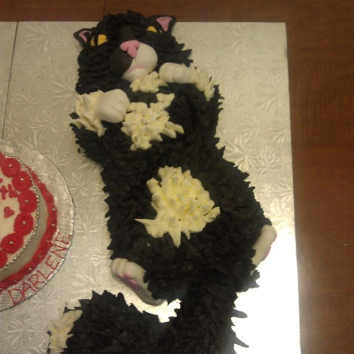 Close up of black n white kitty cake #cute #cake #awesomecatcake #cat #fun